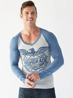 Picture of Highgrade L/S Fitted Raglan Vneck Winter 2016 Light Weight Viscose Lycra